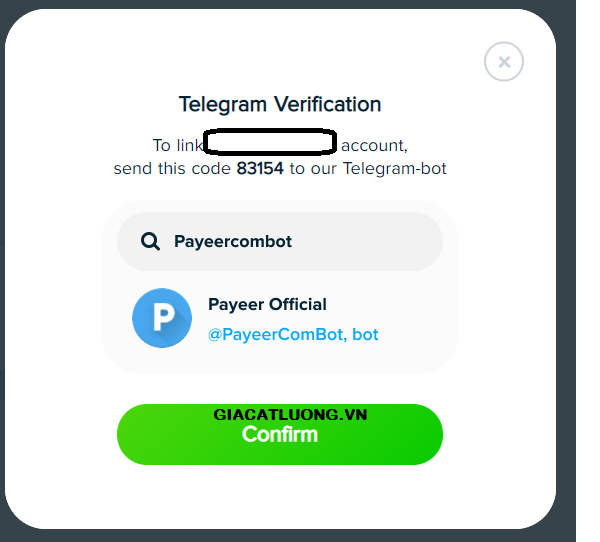 verify vi payeer bang telegram